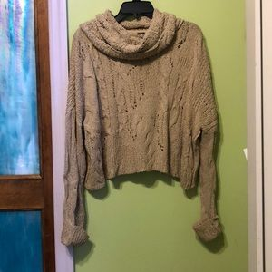 Free people cowlneck sweater small tan